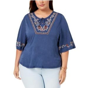Style & Co Boho Embroidered Dyed Vintage Look Top